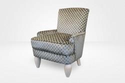 Milena Slipcovered Chair – 8″ Pear Legs  (dressed in a Velvet Geo - Terrain) – Chameleon Fine Furniture™