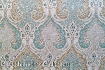 Latika-Seafoam - Aqua and Tan Paisley