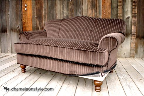 Jessica Loveseat in Brown Velvet Slipcover (Removable Upholstery)