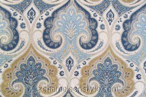 Latika - Delta, a blue and tan paisley decorator fabric