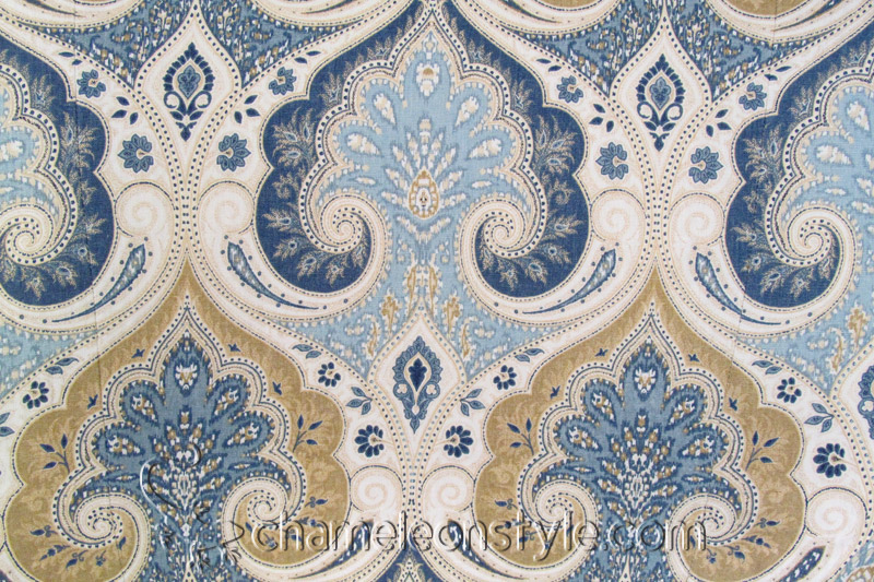 latika delta a blue and tan paisley decorator fabric - Decorator Fabric