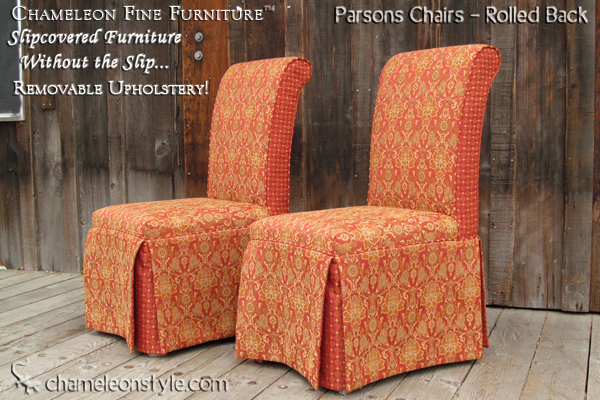 Slipcovered parsons chairs rolled back chameleon fine for What is a parsons chair style