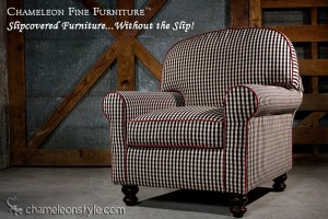 Rachel Chair in Black and Ivory Check Slipcover (Removable Upholstery)