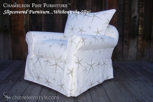 Rachel Chair in White Sea Star Slipcover (Removable Upholstery)