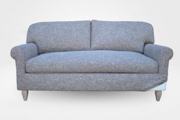 Rachel Midsize Sofa in Grey Slipcover (Removable Upholstery)