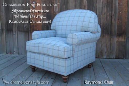 Raymond Chair in Blue Plaid Slipcover (Removable Upholstery)