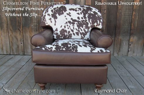 Raymond Chair in Cowhide Slipcover (Removable Upholstery)