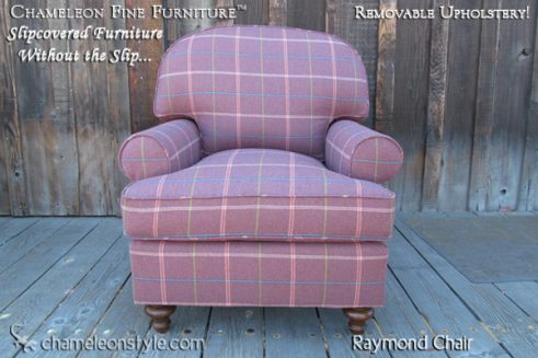Raymond Chair in Purple Plaid Slipcover (Removable Upholstery)