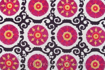 Talc Suzani - Mulberry Decorator Fabric