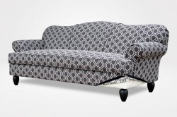 Jessica Slipcovered Sofa, 1 Seat Cushion, 6″ Pear legs in black (dressed in Laneway-Nightfall fabric) – Chameleon Fine Furniture™