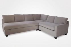 "Kendall Slipcovered Sectional, 1 Armless Sofa (1 Seat Cushion, 3 Style ""A"" Back Cushions), 1 Right-Arm Loveseat (1 Seat Cushion, 2 Style ""A"" Back Cushions), 1 Square Corner Piece,  (dressed in Modelo - Pebble fabric) - Chameleon Fine Furniture™"