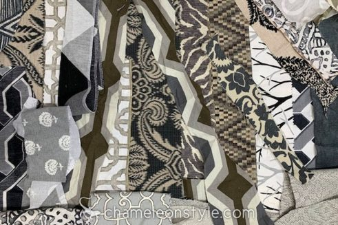 An example of the Black/Grey/White scraps included in a Chameleon Style Scrap Bag!