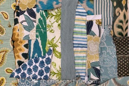 An example of the Turquoise/Aqua scraps included in a Chameleon Style Scrap Bag!