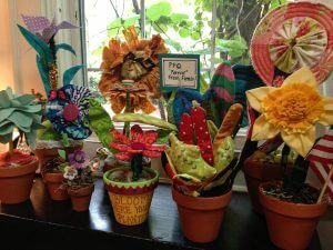 Fabric Flower display at People Places & Quilts in South Carolina