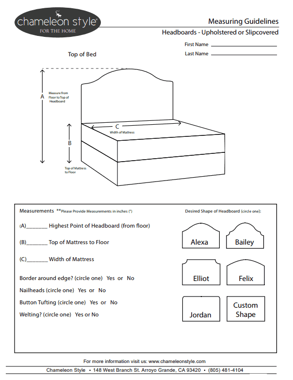 chameleon style custom headboard measuring guide