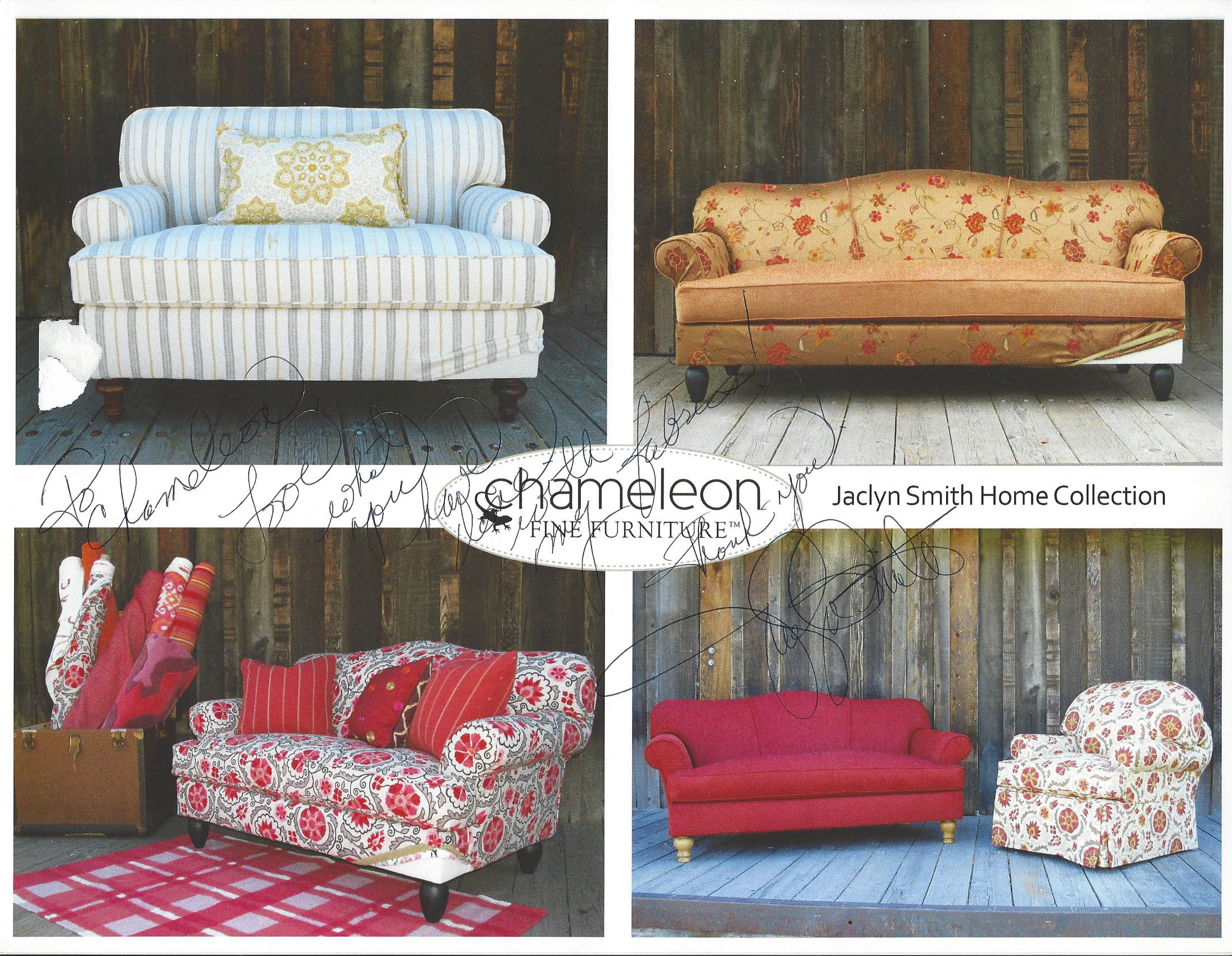Photo Of Chameleon Fine Furniture™ Dressed In Jaclyn Smithu0027s Fabrics,  Signed By Jaclyn Smith Herself.