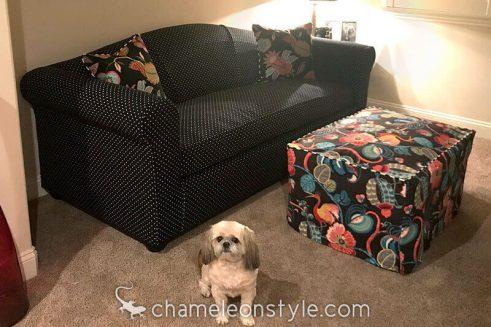 Chameleon Fine Furniture Jody Apartment/Midsize Sofa slipcovered in Palino Midnight fabric.