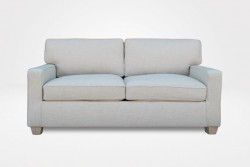 "Kendall Slipcovered Loveseat, with 2 Seat Cushions, 2 Style ""A"" Back Cushions, 3"" unfinished Block legs (dressed in beige woven fabric) - Chameleon Fine Furniture™"