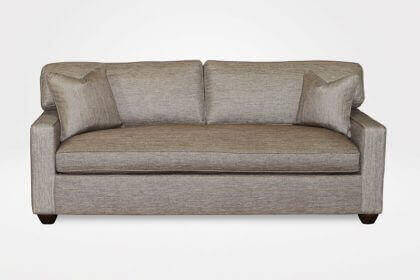 "Kendall Slipcovered Sofa, 1 Seat Cushion, 2 Style ""A"" Back Cushions, 3"" New Bun legs (dressed in Groupie - Gunmetal fabrics ) - Chameleon Fine Furniture™"