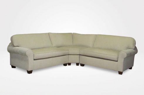 "Kerrie Slipcovered Sectional, 1 Right-Arm Apartment (Demi) Sofa (1 Seat Cushion, 1 Style""B"" Back Cushion), 1 Left-Arm Apartment (Demi) Sofa (1 Seat Cushion, 1 Style""B"" Back Cushion), 1 Curved Corner Piece, 3"" Block legs (dressed in beige woven fabric) - Chameleon Fine Furniture™"