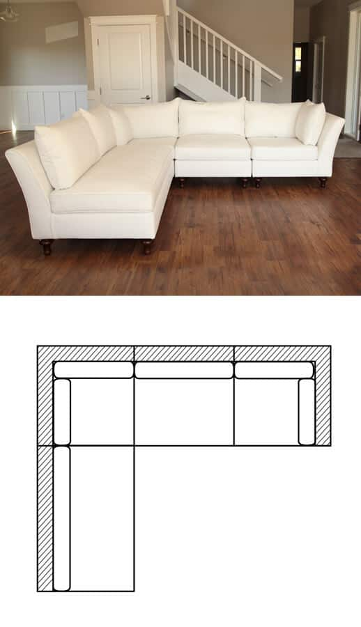 chameleon fine furniture lielle sectional in white fabric chameleon style