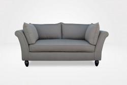 Linnea Apartment (Demi) Sofa – One Seat Cushion, 6″ Pear Legs (dressed in Calvin - Brown Sugar Fabric) – Chameleon Fine Furniture™