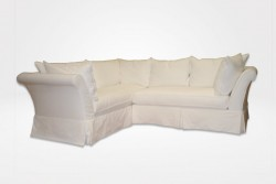 Linnea Slipcovered Sectional with waterfall skirt (dressed in white denim fabric) – Chameleon Fine Furniture™
