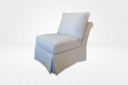 Linnea Slipcovered Slipper Chair with waterfall skirt (dressed in Diamond Dot - Indigo fabric) - Chameleon Fine Furniture™