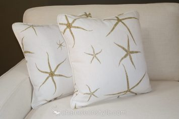 """Sea Star - Sand Pillow Covers.  <a href=""""https://www.chameleonstyle.com/product/pillow-cover-18x18-sea-star-sand/"""">Click here to buy it!</a>"""