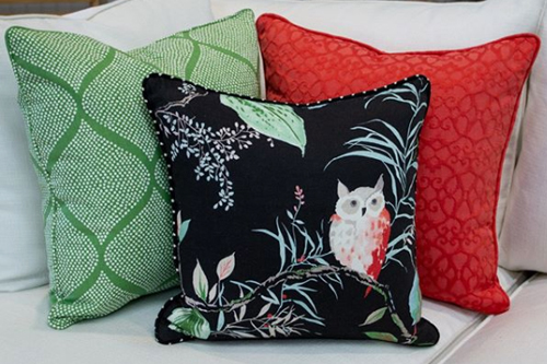 Strix Black pillow with red and green support pillows