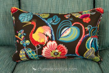 """16x26 Pillow Cover in Tropical Fete - Onyx.  <a href=""""https://www.chameleonstyle.com/product/power-pillow-cover-16x26-tropical-fete-onyx/"""">Click here to buy it!</a>"""