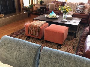 Square Ottomans slip-covered in Bridge Color: Pumpkin (Aria / Ember fabric)
