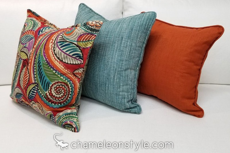 pillow combination with dapper blue jay fabric chameleon style bridge color lagoon